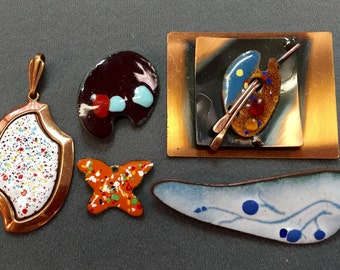 Five Handmade Vintage Enamel on Copper Pieces.  Free shipping