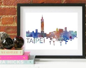Taipei Watercolor Skyline, Taipei Skyline, Taipei Art, Taipei Poster, Taipei Print, Taipei Art, Taipei Map, Taipei Wall Art, Taiwan Art