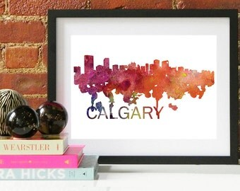 Calgary Art, Calgary Skyline, Calgary map, Calgary skyline, Calgary map print