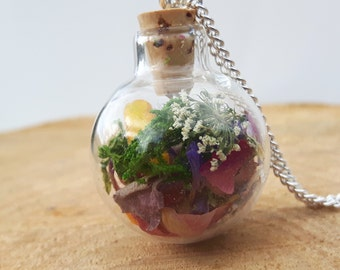 Botanical Necklace, Nature Jewellery, Dried Flower Necklace