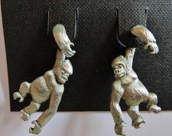 JJ Jonette 3-D Pewter Gorilla Pierced Earrings