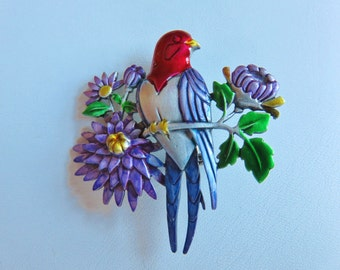 JJ Jonette Pewter Lovebird Perches On Tree Branch With Three Purple Flowers Brooch Pin