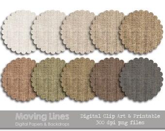 Digital Tag, Burlap Circles, Printable and Clip Art, Scalloped Round Labels, Natural Linen Digital Label, 3 in 10 png files 300 dpi