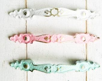 Shabby Chic Pink Hardware , Romantic Knobs , Kitchen Cabinets , Cottage Decor , Light Blue  Dresser Knobs Floral Cabinet Knobs, Pastels