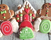 Gingerbread Men Gingerbread House Candy Christmas Decorated Sugar Cookies