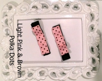 Clip Bows, Lined Alligator Clips with Small Polka Dot Bows