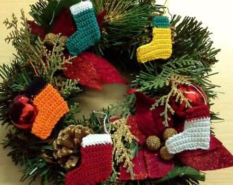 Miniature Christmas tree Stockings set of 6 pc multicolor