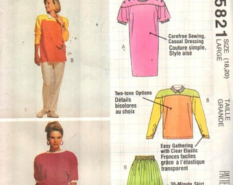 """McCalls 5821, Sz 18-20/Bust 40-42"""".  Flared skirt & Color Block Tshirt/Tunic/Dress and top with yoke.  Busy Woman's pattern by Nancy Zieman"""