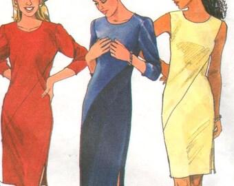 "Simplicity 8419, Sz  6-10/Bust 30.5-32.5"". Vintage 90s Color Block Sleeveless/Long Sleeve Dress, UNCUT"