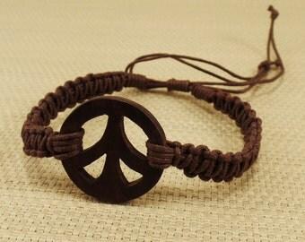 Peace Bracelet - Brown Peace Symbol Bracelet - Brown Bracelet - Wooden Peace Bracelet - Brown Peace Bracelet - Brown Macrame Hemp Bracelet