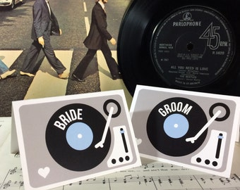 Wedding/ Party Name Place Cards - Turntable (Vinyl Record) Inspired Design