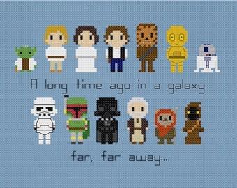 Star Wars Set w/Quote Cross Stitch Pattern
