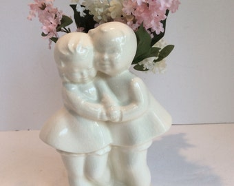 Vintage White Ceramic Boy and Girl Vase