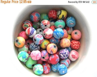 SALE 20 Assorted Polymer Clay Flower Beads - 8mm