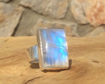 Rainbow Moonstone Silver Ring, Oblong Stone Ring, Gemstone Ring,  Rainbow Moonstone Ring, Statement Ring
