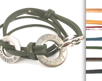 Bracelet, name, leather, carabiner, 2 rings, request caption