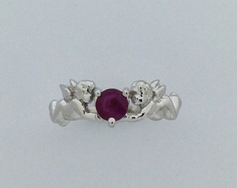 """Genuine Ruby """"Angel"""" Ring Solid 10kt White Gold"""