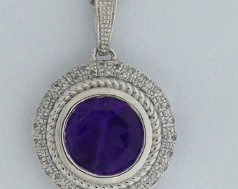 Natural Amethyst Diamond Pendant 925 Sterling Silver