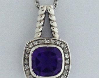 Genuine Amethyst Diamond Pendant Sterling Silver