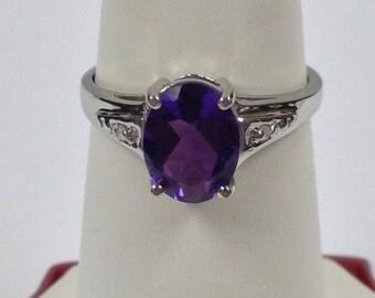 Natural Amethyst Diamond Ring Sterling Silver