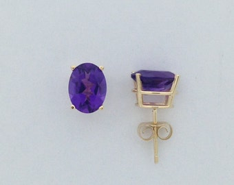 Natural Amethyst Stud Earring 14kt Yellow Gold