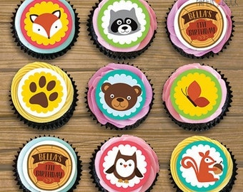 "15 X Personalised WOODLAND ANIMALS Edible Icing Pre-Cut Cupcake Toppers 2"" Children's Birthday Party Bear Raccoon Fox Squirrel Owl Butterfly"