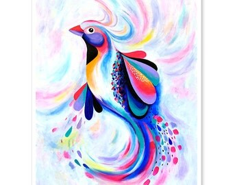 Limited Edition Swirl Bird fine art giclee print, wall art, bird painting, bird art, fine art prints, modern art