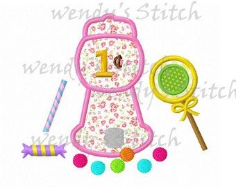 gumball machine candy applique machine embroidery design instant download