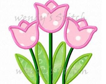 Three tulips applique machine embroidery design instant download