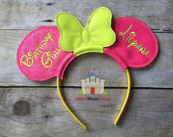 Minnie Mouse Birthday Ears with Bow in Glitter Vinyl personalized. Mouse Ears Inspired by Minnie Mouse and Disney.