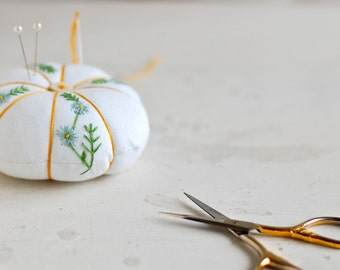 Embroidered Pincushion - Hand Embroidered Pincushion - Floral Embroidery - Baby Blue Flowers