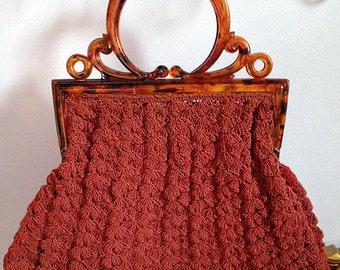 1940s maroon corde purse - older plastic handle