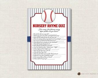 Baseball Nursery Rhyme Quiz Baby Shower Game - Baseball Nursery Rhyme Baby Shower Game, Printable Baby Shower Games, Balloon - DIY