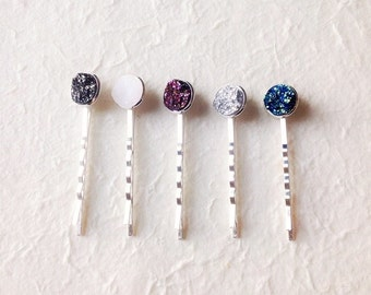 Choose TWO Druzy Bobby Pin Hair Clips Drusy Jewelry Jewellery Silver Plated Bobby Pins Hair Barrette