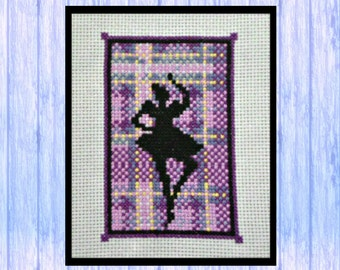 A Tartan Highland Fling, Original Cross Stitch Design, Highland Dancer from Scotland, PDF Download