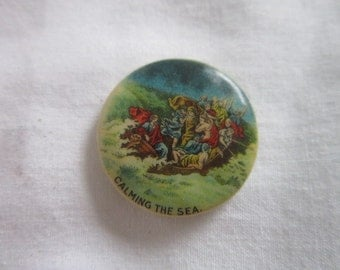 Antique 1896 Whitehead & Hoag Celluloid Pinback Button Christ Calming of the Sea