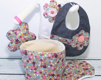 Baby Girl Gift Basket Clothing Set- Fashion Bib, Burp Cloth, Fabric Basket, Bodysuit, and Rattle Toy, Handmade