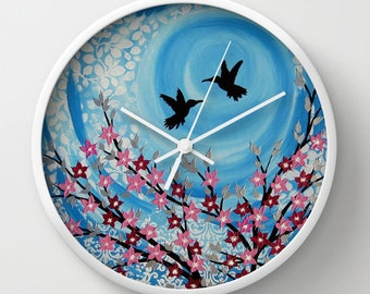 turquoise wall clock, turquoise clock, humming birds, humming bird designs, humming bird, bird art, blue clock, blue clocks, kitchen clock