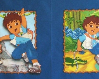 Pillow panels Go Diego go find adventure. 1/2 yard with 2 pictures RARE print