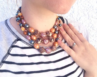 Colorful Beaded Statement Necklace Choker, Hong Kong Jewelry Vintage Beaded Fall Necklace Fall accessory Beaded Vintage Choker Multistranded
