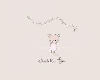 Customized baby's name or not -1 Samuel 1:27  baby teddy bear nursery print art