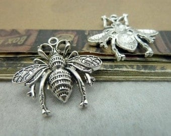 4 - Antique Silver Fly Charms