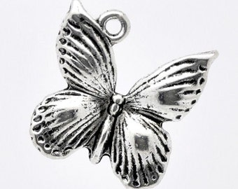 6 - Silver Butterfly Charms