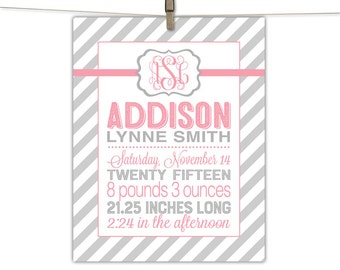 Personalized birth announcement print - keepsake baby gift - girl birth stat print - pink and gray nursery art