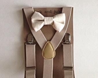 Little boy beige suspender and cream linen bow tie set