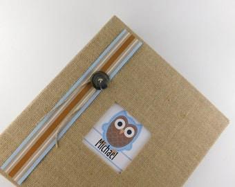 Baby Book Boy Baby Memory Book Burlap Baby Book Owl Baby Book Scrapbook Personalized Baby Book Rustic baby Shower gift Custom Album 678 Z