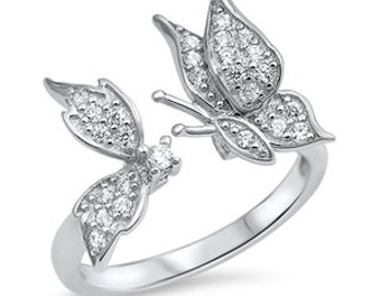 925 Sterling Silver Butterfly CZ Ring 5 6 7 8 9 10