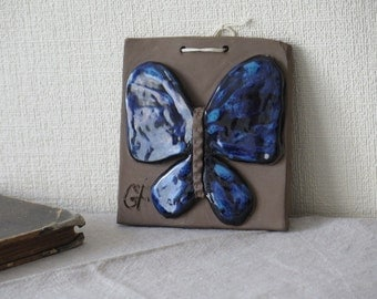 Vintage Ceramic Wall Decor Blue Butterfly , Clay Wall Hanging, Swedish Vintage Scandinavian Home Decor @118