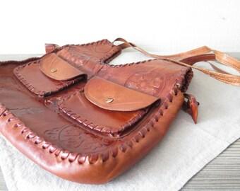Vintage Embossed Genuine Leather Bag, Shoulder Bag, Cross Over Bag, Saddle Bag, Brown Leather Handbag w Two Front Pockets @ 118