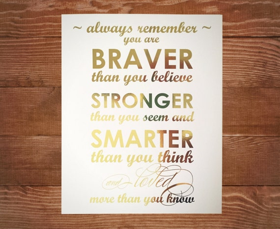 Gold Foil Winnie The Pooh Poster Always Remember You Are